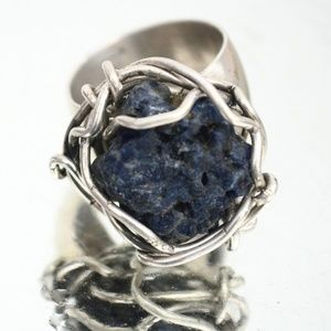 Untreated Blue Sapphire Sterling Silver Ring 8